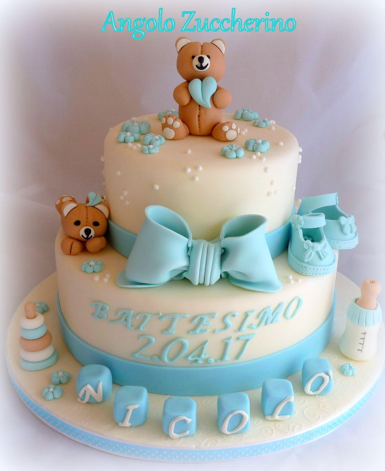 Populaire Torta per battesimo bimbo con orsetti, scarpine e biberon!   Le  EC15