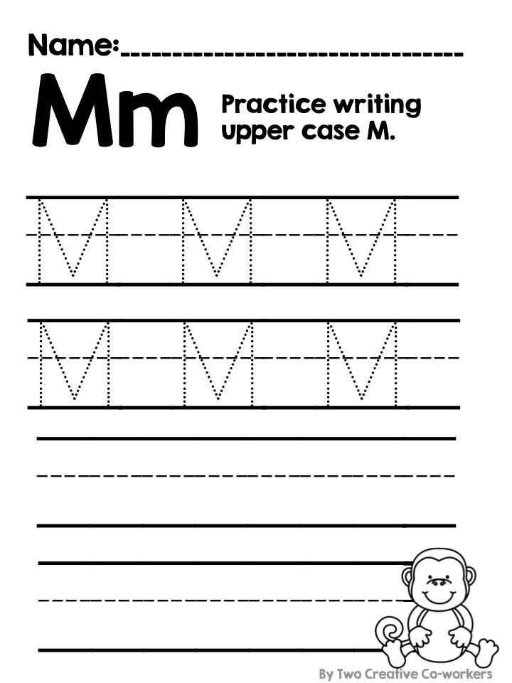 Students can practice writing upper case M on this worksheet ...