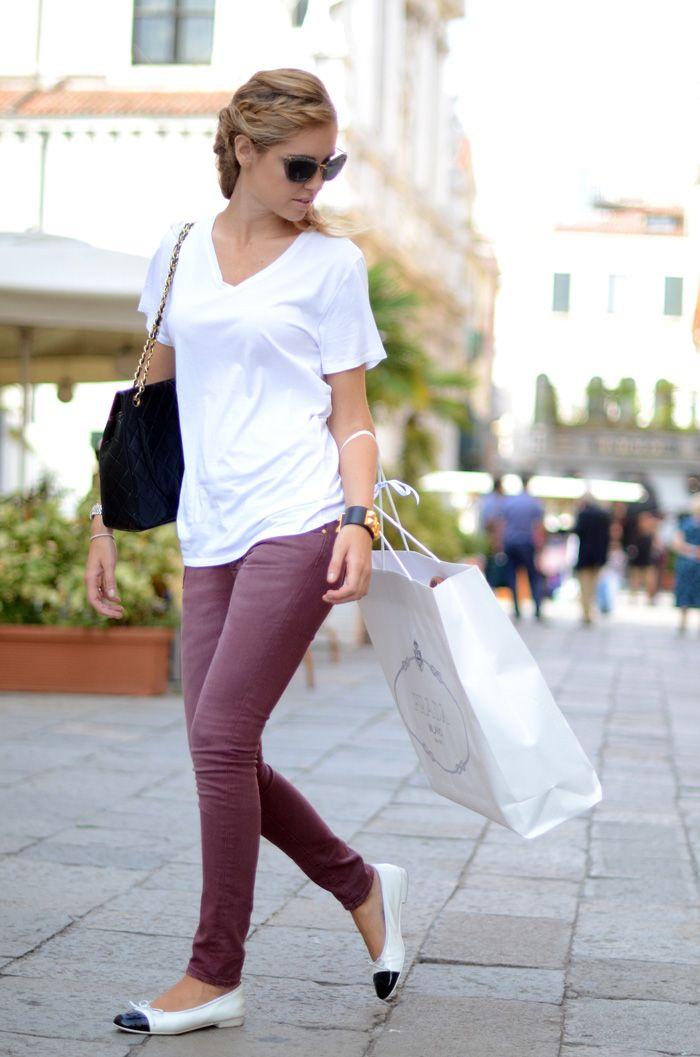 Burgundy Jeans. Chanel flats.
