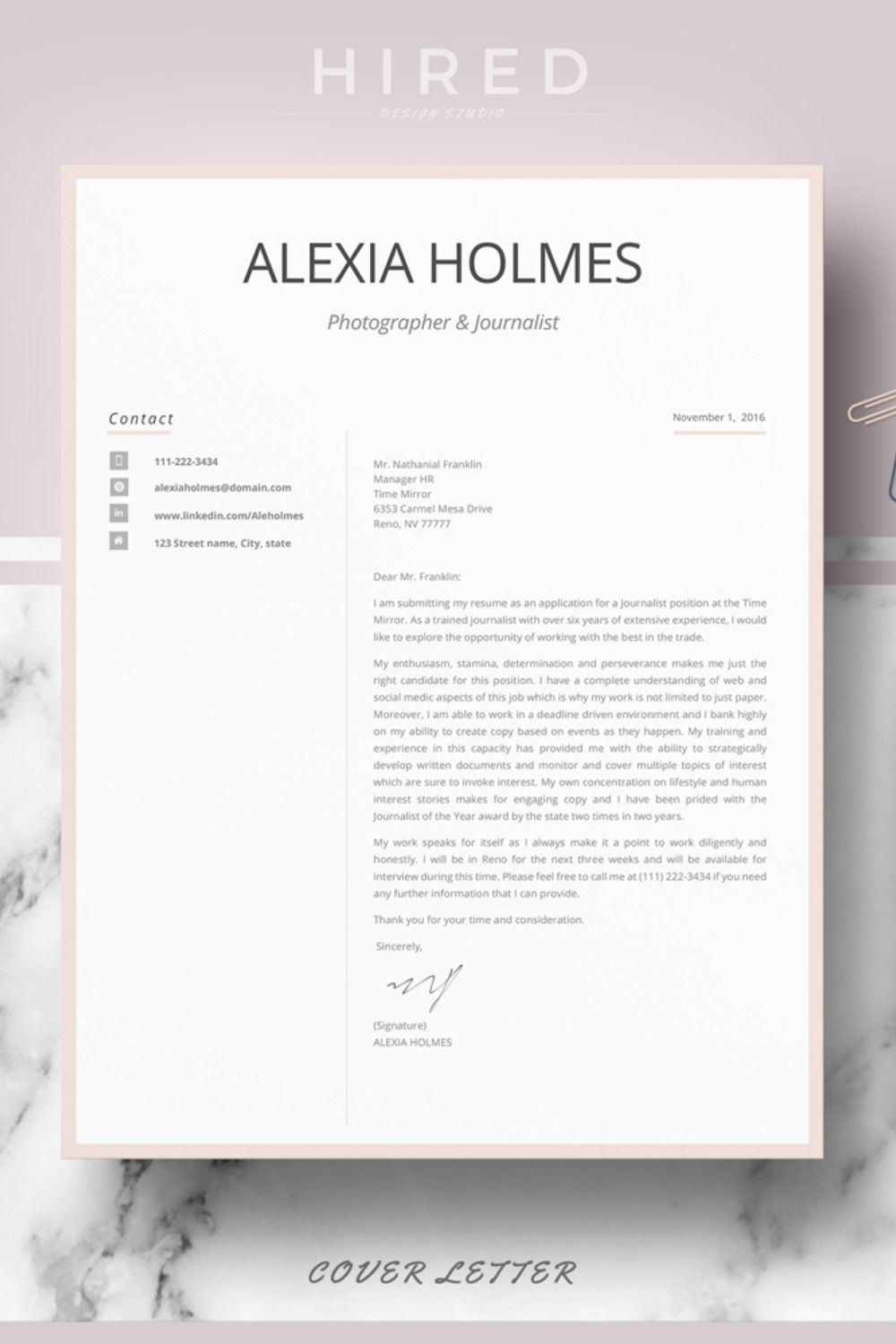 R23 ALEXIA HOLMES Modern Resume Design for Word
