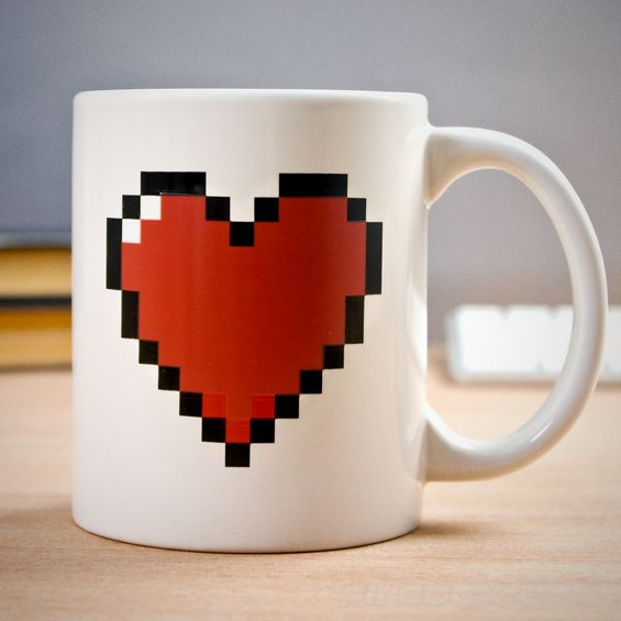 Pixel Heart Heat Changing Mug - Take My Paycheck | The coolest gadgets, electronics, geeky stuff, and more! Shut up and take my money!