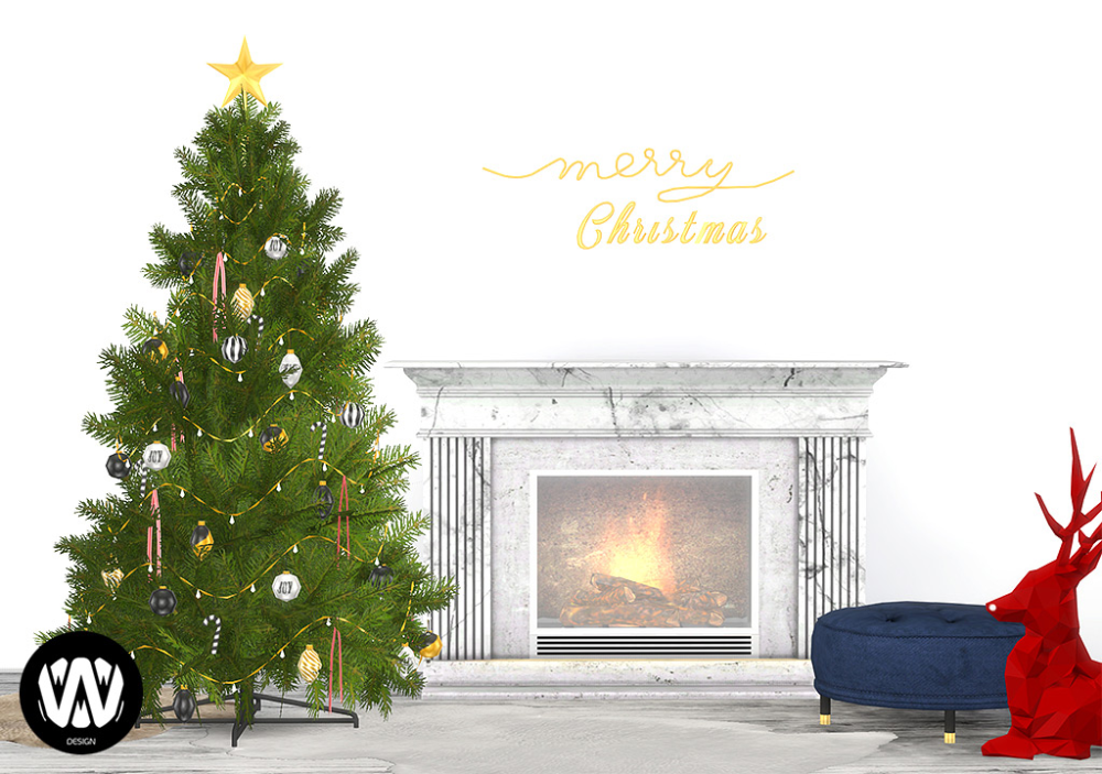 Christmas 2020 Fireplace By Wondymoon sims 4 cc // custom content clutter decor furniture // #sims4cc