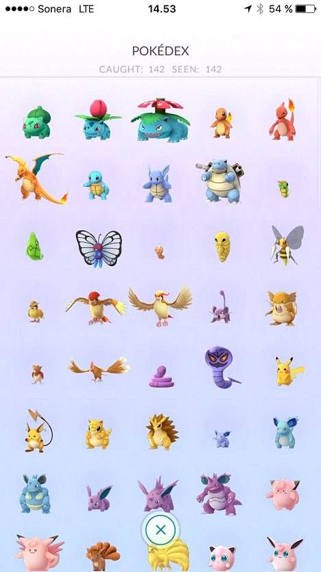 Se on siinä! Kaikki 142 Pokémonia.