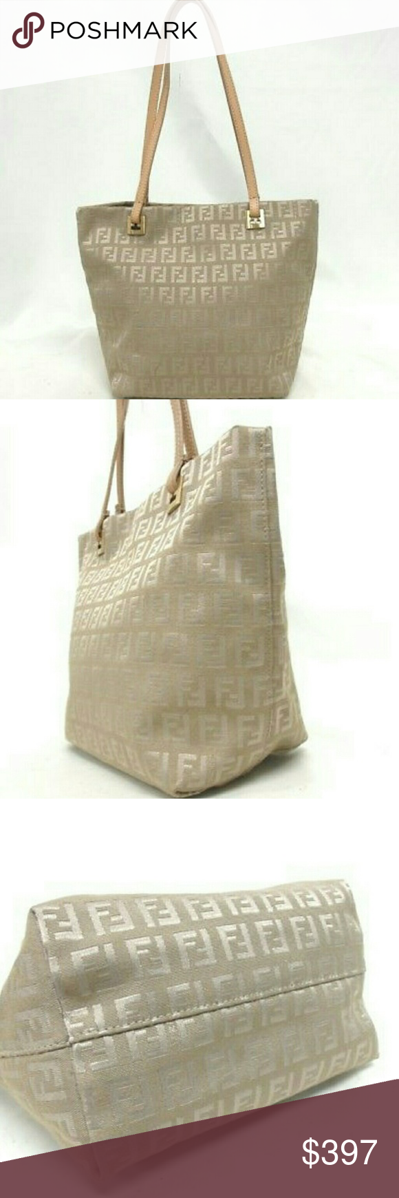 1850ace67d6 Spotted while shopping on Poshmark  Fendi Zucca Monogram beige leather Canvas  tote bag!  poshmark  fashion  shopping  style  Fendi  Handbags