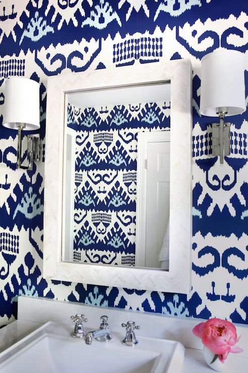 Fabulous Bathroom Features Walls Clad In Navy Ikat Wallpaper Quadrille Kazak Lined With