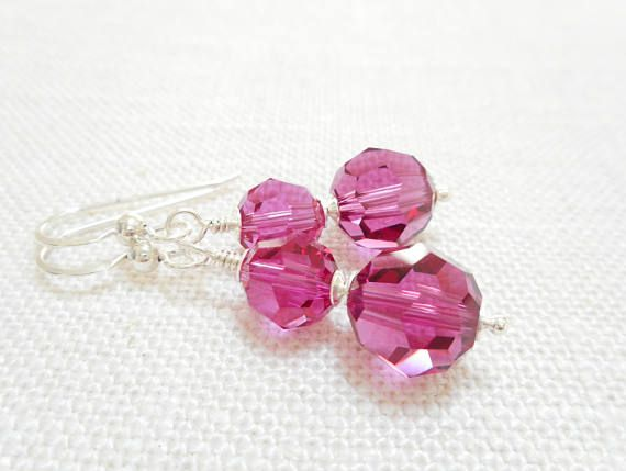 Fuchsia Crystal Earrings Pink Swarovski