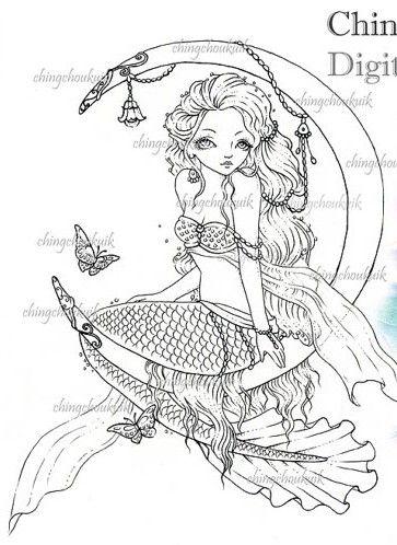 Pin de Marie Hart en Mermaid Coloring Sheets | Pinterest | Pinturas