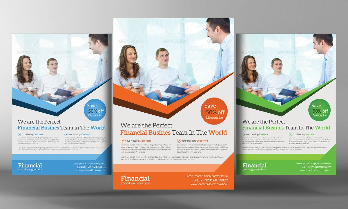 Financial Flyer Template by Business Templates on Creative Market – Hospital Flyer Template