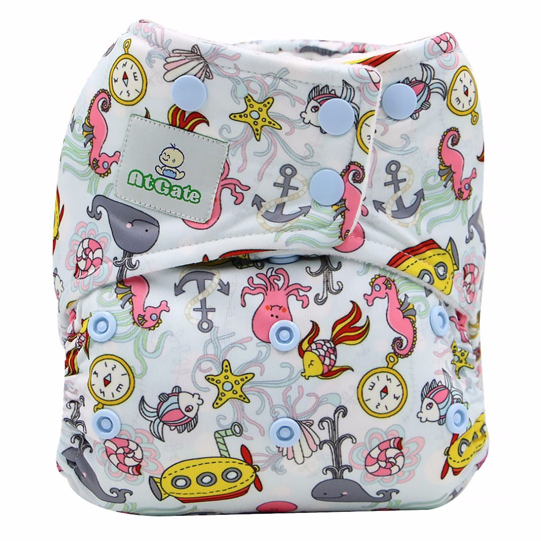 Baby' Reusable Ocean Critters Cloth Diaper (with 2 Micro-fiber Inserts), 35% discount @ PatPat Mom Baby Shopping App