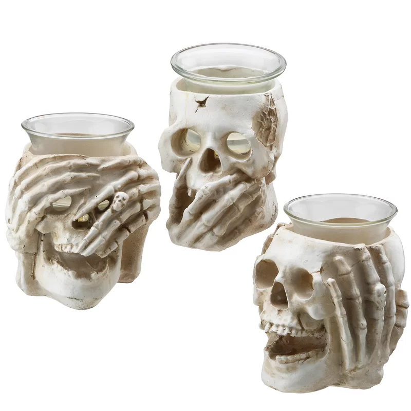 3 Piece Skull Small Glass Votive Holder Set Skull Candle Holder Skull Candle Candle Holders