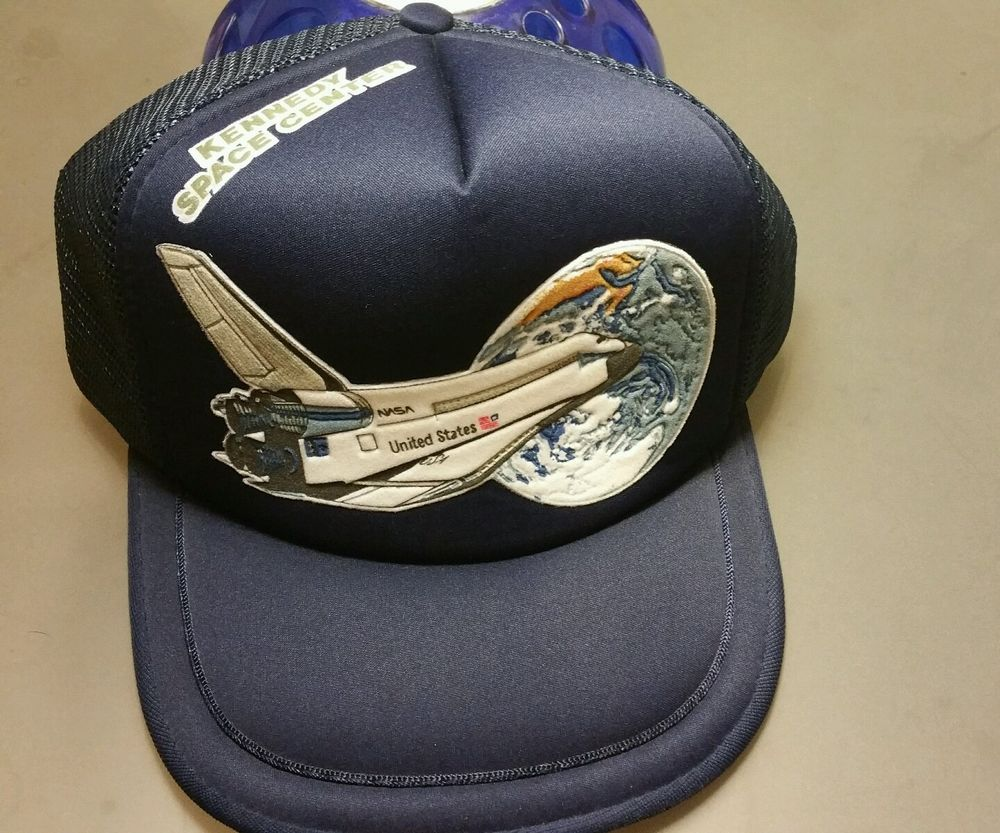 a860a641888 Discover ideas about Space Center. Vintage 1980s NASA Kennedy Space Center Space  Shuttle Snapback Hat Trucker ...
