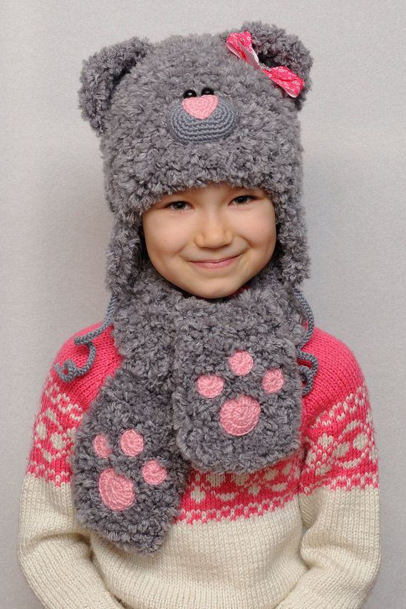 Inspirational kids gift Knit Bear Hat Kids Hats Ear Hat Baby Girl ...