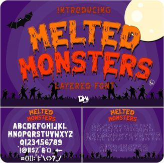 Download Melted Monster Halloween Pack | Whimsical fonts, Halloween ...