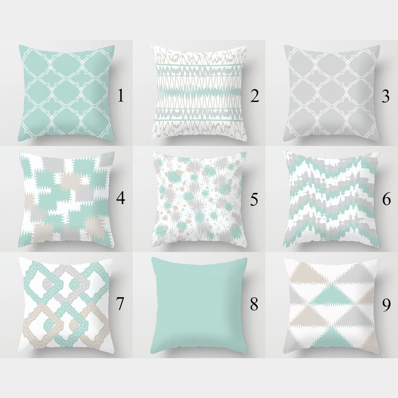 Light Turquoise Throw Pillow Covers Geometric Cushion Covers Gray Beige En 2020