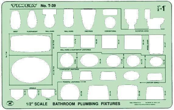 Bathroom Plumbing Template (Set of 2)