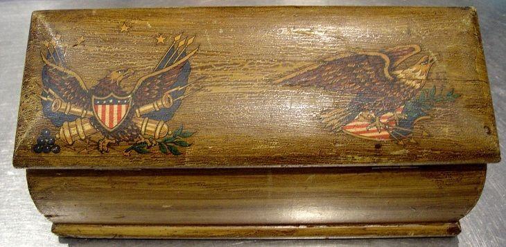 Antique Primitive Grain Painted Candle Storage Box Lift Out Tray U0026 Eagles  Signed #NaivePrimitive #