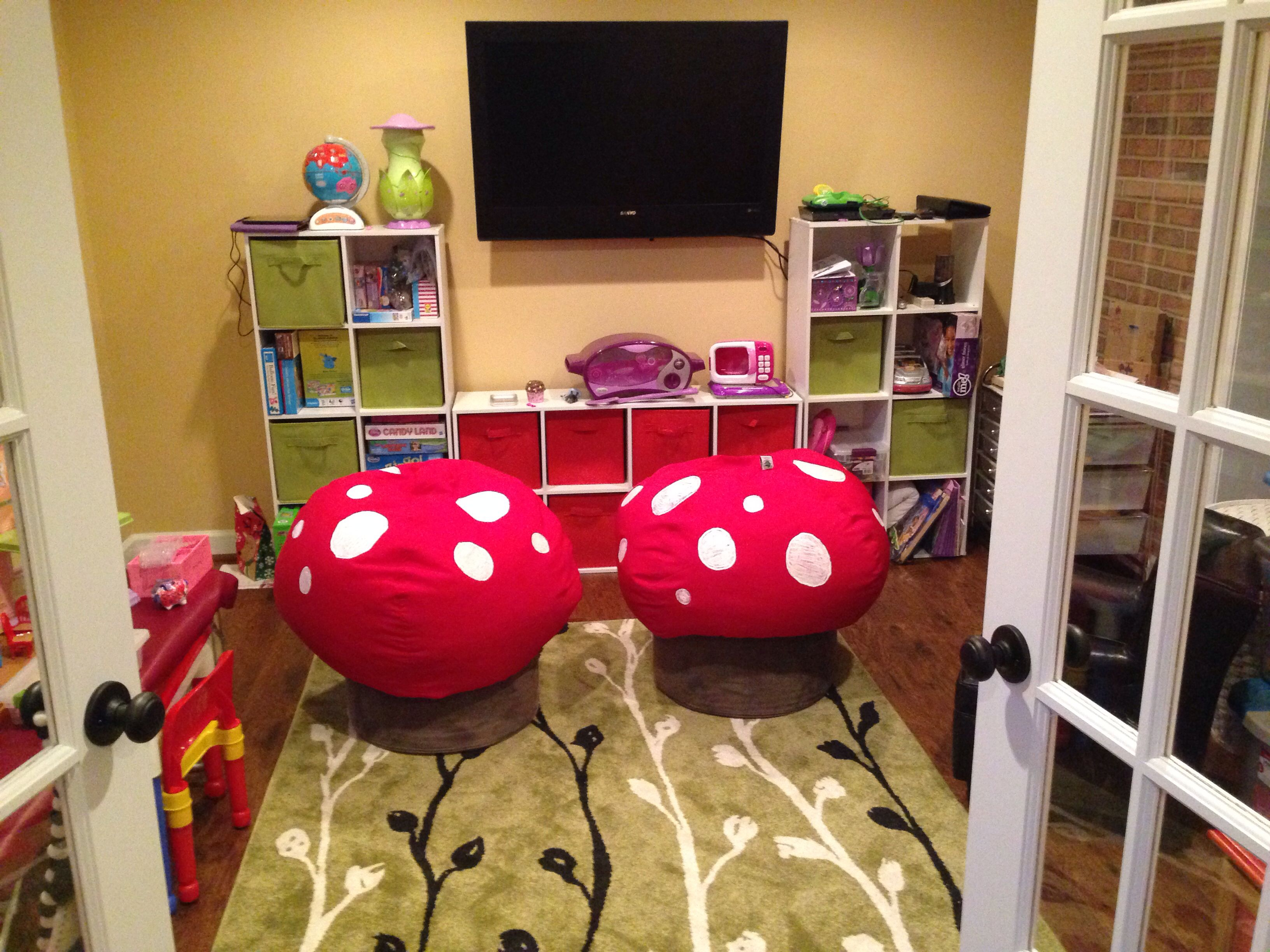 Mushroom Bean Bag Chair Silver Dining Covers Mushrooms Chairs Made From And Ottomans Playroom