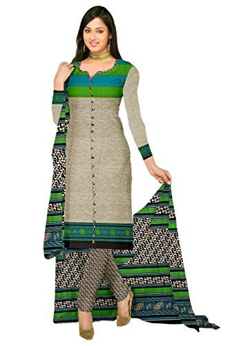 Araham Printed Grey Synthetic SoftCrepe Dress Material/ Unstitched Salwar Suit