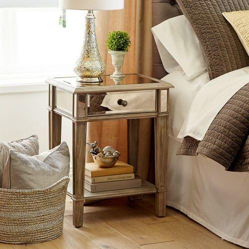 Hayworth Mirrored Weathered Oak Nightstand Mirrored Bedroom