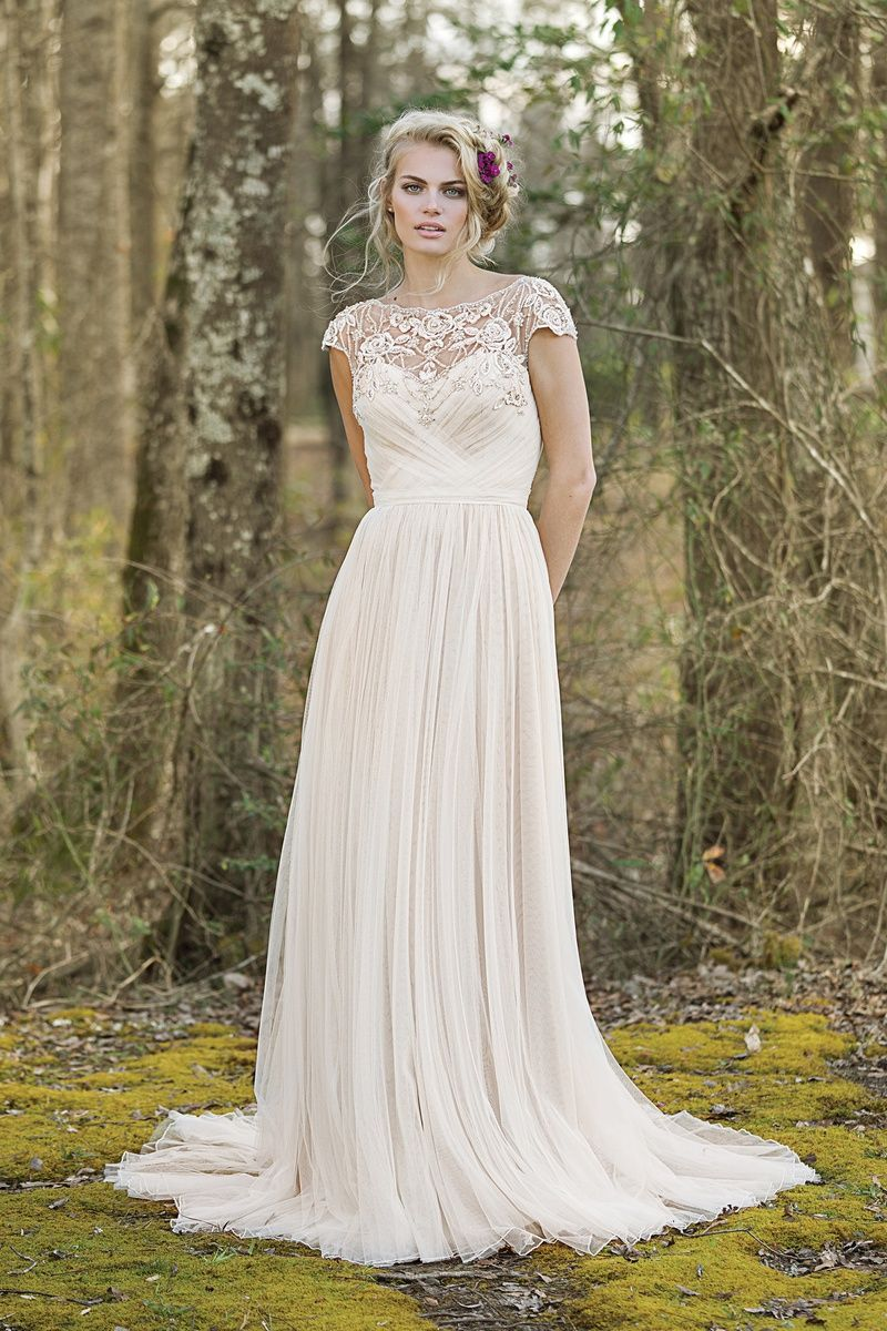 Lillian west style draped aline gown with illusion beaded