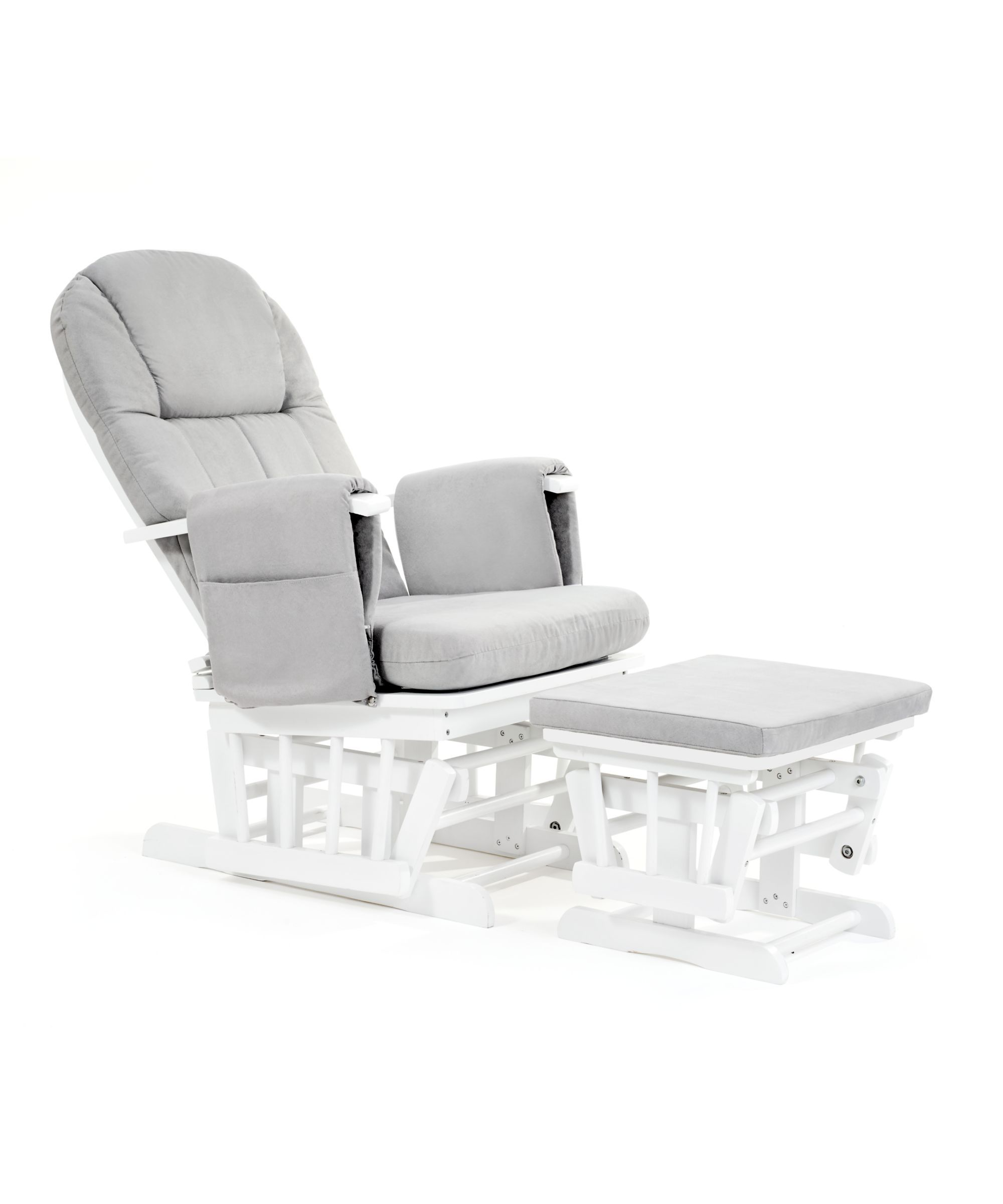 rocking chair recliner for nursery tables and chairs hotels glider babies baby mothercare reclining white with grey cushion