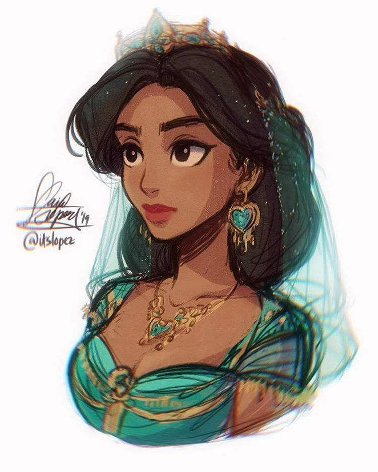"""Photo of Laia López 🌊 on Instagram: """"finally got to watch #Aladdin yesterday and I just wanna say that I'm speechless🤧💚 here's a #procreate sketch I did~ still trying to get…"""""""