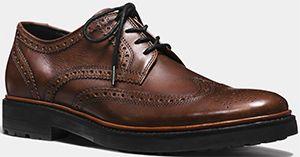 Coach Bryant Wingtip men's shoe: US$345.   Leather oxford
