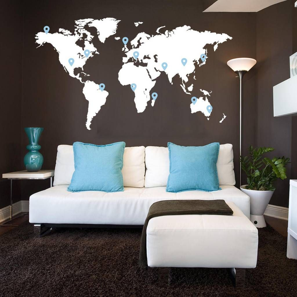 Muursticker wereldkaart met pin points muurstickers