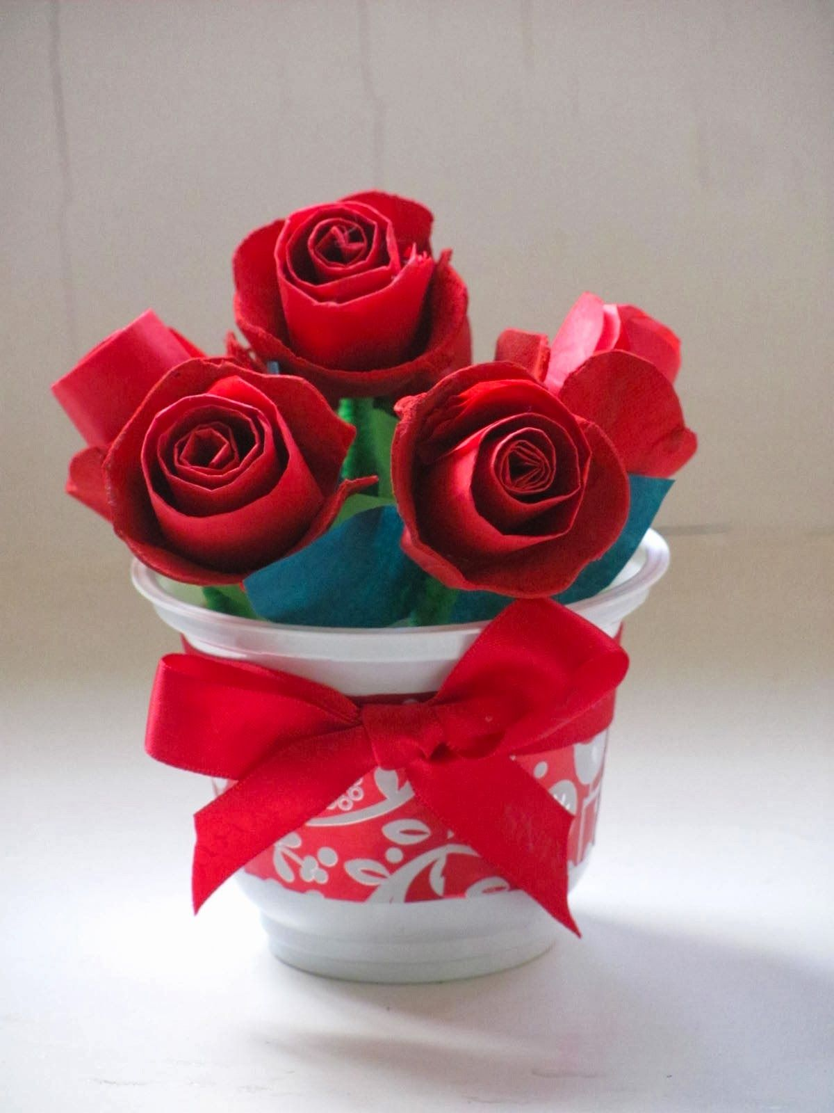 Egg Carton Roses For Valentine S Day Kids Crafts Egg Carton