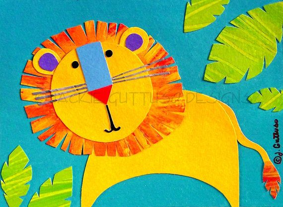 Lion art Original Jungle art Kids art by JackieGuttusoDesigns ...