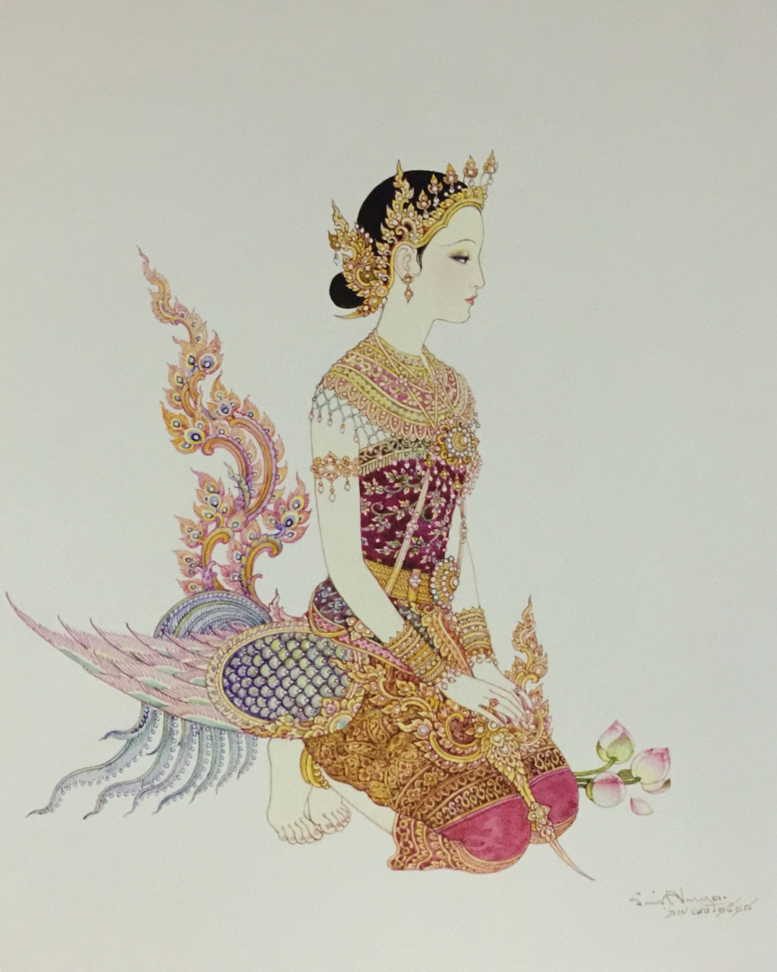"""A kinnari in a tiara"", 1985, watercolor on paper, by a Thai national artist Chakrabhand Posayakrit"