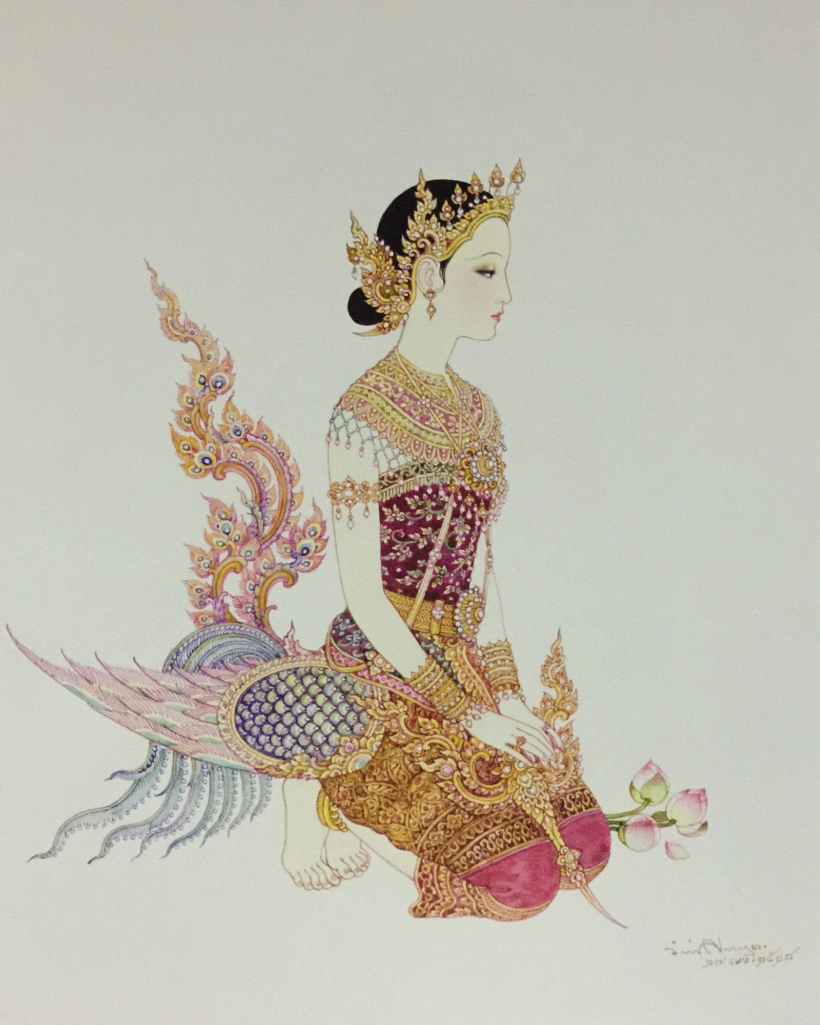 a kinnari in a tiara 1985 watercolor on paper by a thai national artist chakrabhand posayakrit ศ ลปะเคลต ก ภาพวาด ศ ลปะไทย