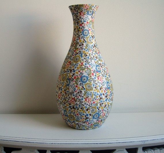 Happy Floral One Curvy Vase White Pink Yellow Blue Green Brown