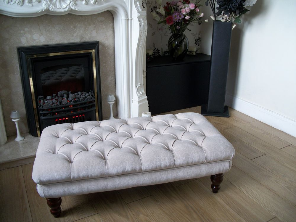 Chesterfield Style Oxford Deep Buttoned Large Footstool / Coffee ...