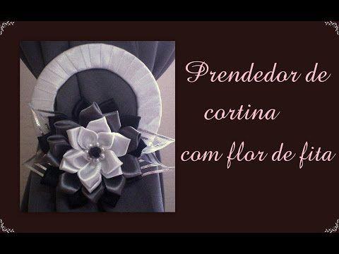 Prendedor de cortina com flor de fita de cetim / catch curtain ...