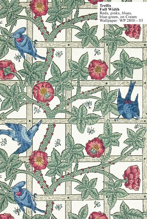 William Morris Trellis Wallpaper 1864 I Have This Pattern As A Tile At Home Love Arts Crafts Style