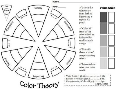 great color theory worksheet Color theory worksheet, Art