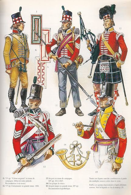 British; Trumpeter, Colour Sergeant & Piper, 71st(HLI) , Sergeant 68th & Sergeant-Major 85th. 1808 by Patrice Courcelle