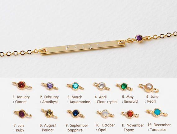 Beste Bruidsmeisje Gift • naam armband • inspirerende geboortesteen HU-32