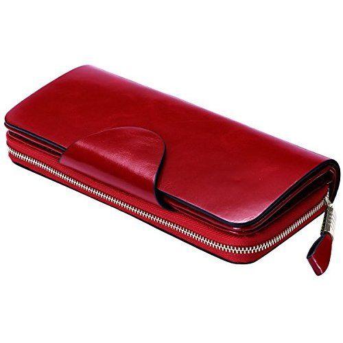 1549589df14 Itslife Large Luxury Women's RFID Blocking Tri-fold Leather Wallet Zipper  Ladies Clutch Purse(Red)