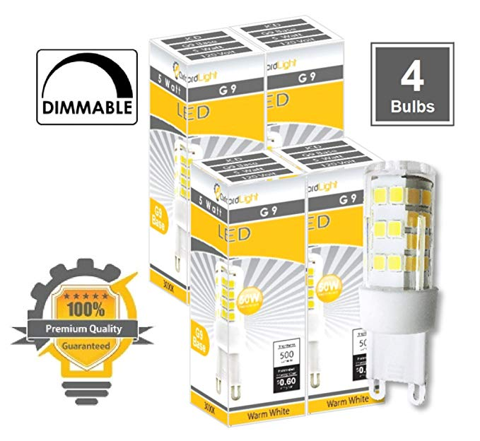 360/° Beam Angle Not Dimmable G9 LED Light Bulb Newest Version 5-Pack 120 Volt 40W Equivalent 310 Lumens JCD Halogen G9 Replacement Bulb CBConcept UL-Listed 3 Watt Warm White 3000K