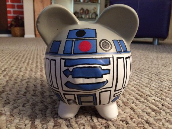 Ready To Ship Star Wars R2d2 Hand Painted Ceramic Piggy Bank Medium Piggy Piggy Bank Ceramic Painting