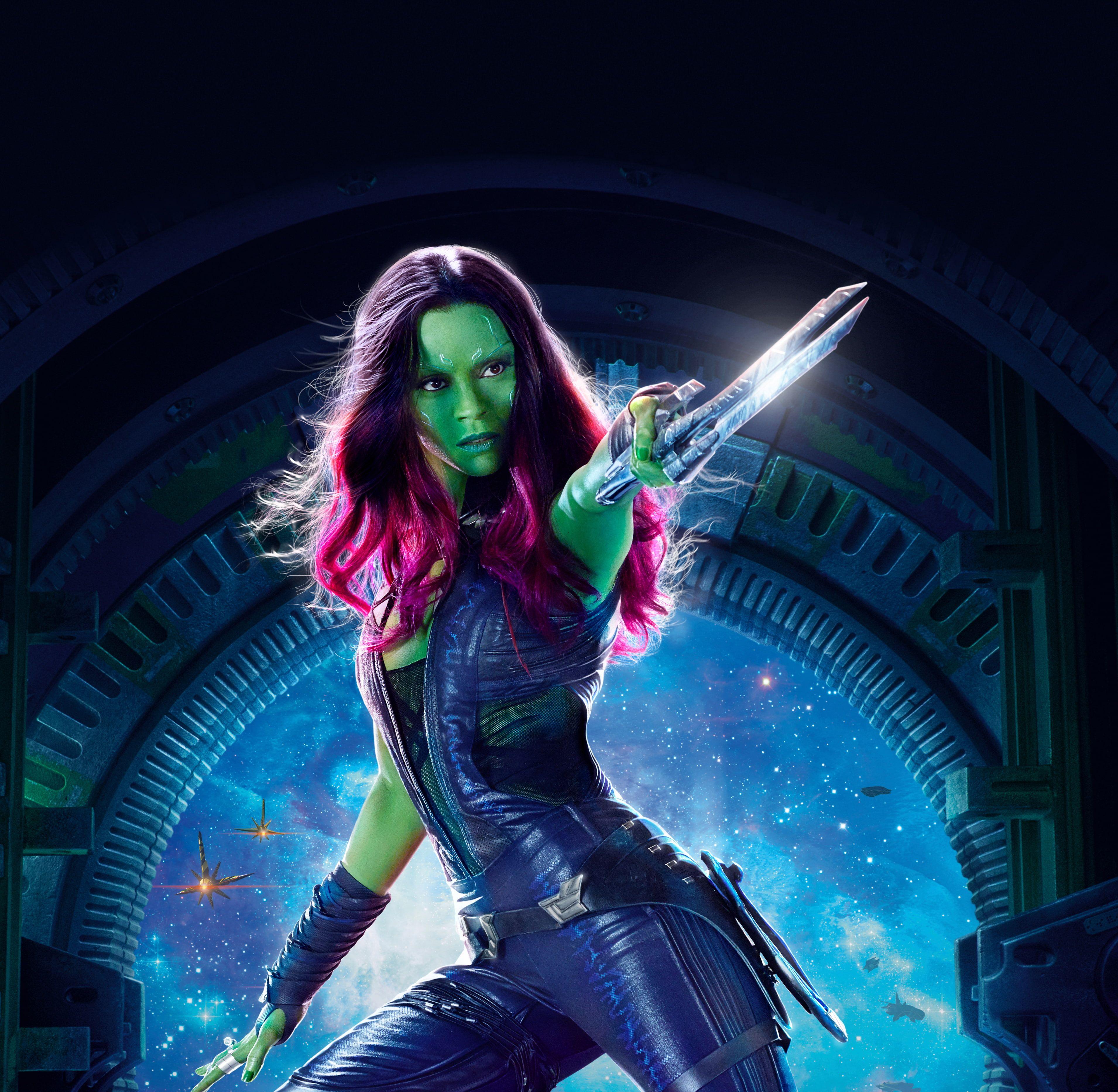 Gamora Zoe Saldana Guardians Of The Galaxy Vol 2 4k 2k Wallpaper Hdwallpaper Desktop Galaxy Movie Guardians Of The Galaxy Vol 2 Guardians Of The Galaxy
