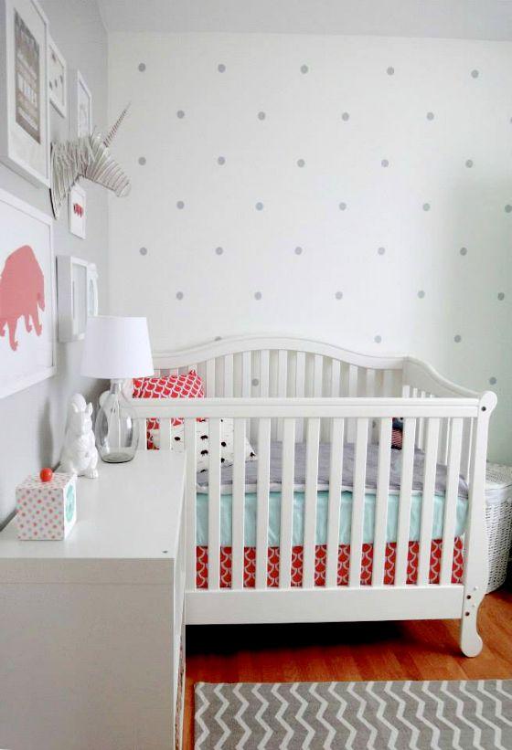 Eclectic C And Aqua Nursery Love The Polka Dot Wall