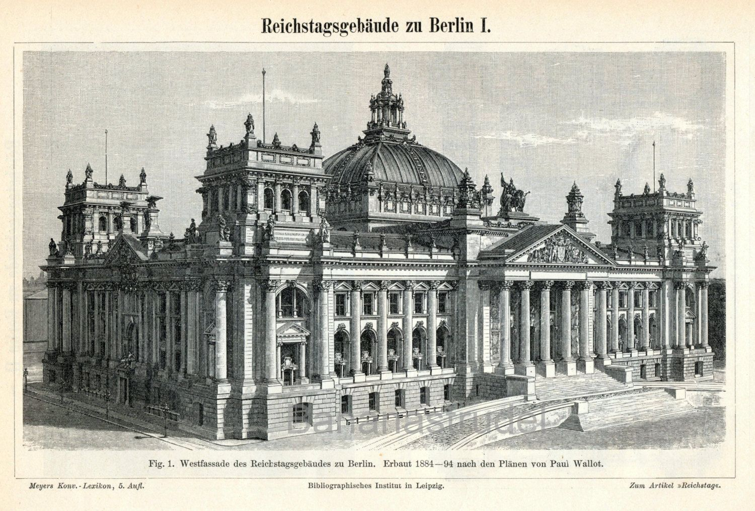 1895 Back To Back Antique German Engraving Of The Reichstag