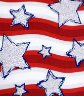 Holiday Inspirations-Silver Stars on Red Stripes Glitter Fabric