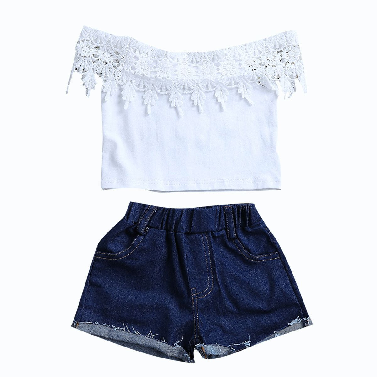 2PCS Little Girl Summer Fashion Denim Set Kids Baby Off Shoulder Embroidery Rose Tops Hole Denim Shorts Pants