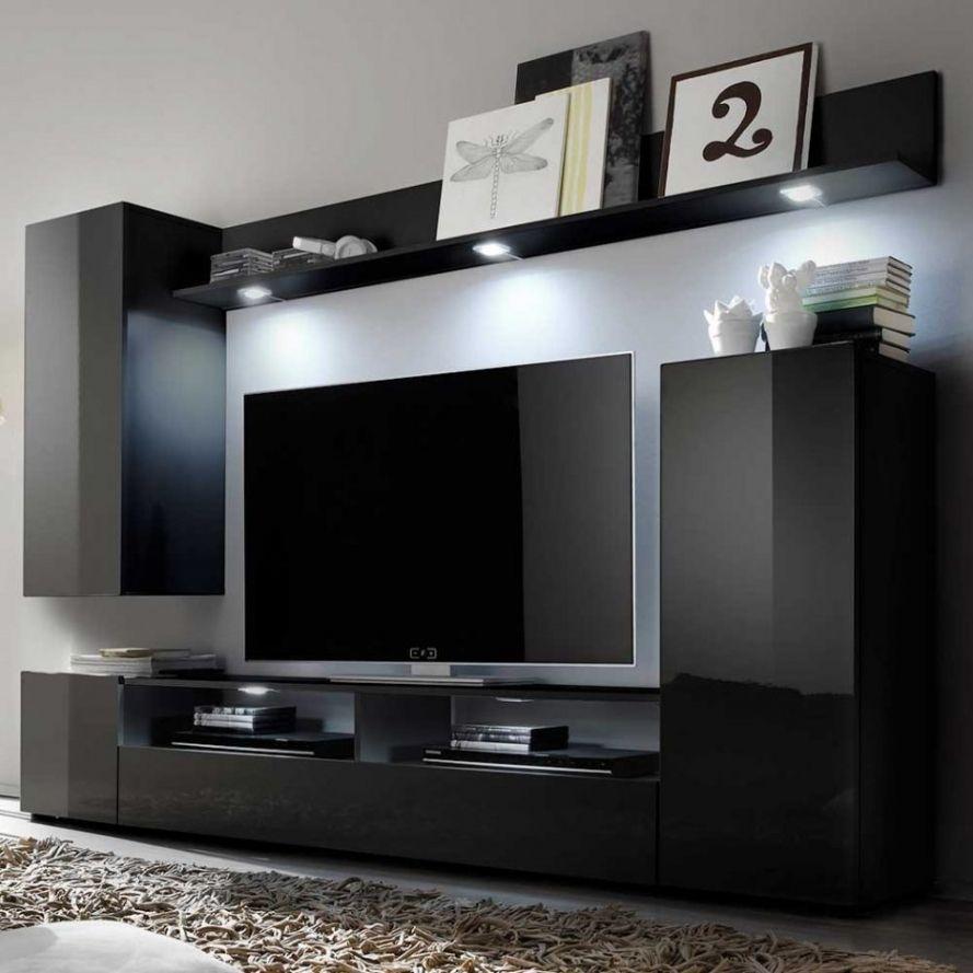 Wohnwand Modern Schwarz