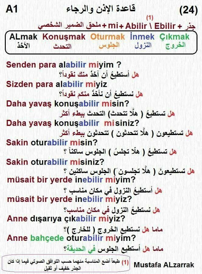 قاعدة الإذن والرجاء في اللغة التركية Learn Turkish Language Turkish Language Learn Arabic Language