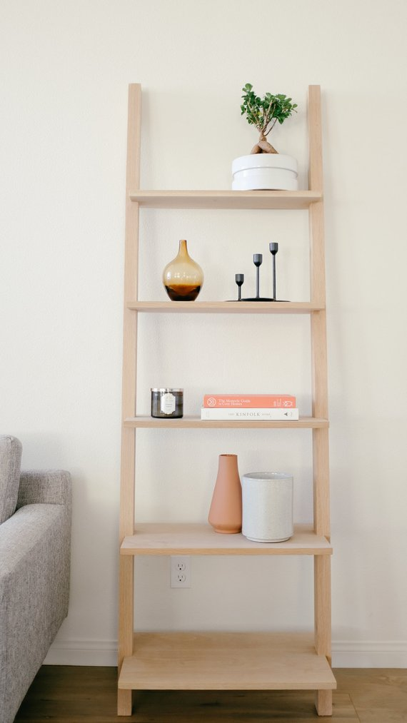 Modern Bookcase Leaning Bookcase Ladder Shelf Mid Century Bookshelf Ladder Shelves Bathroom Shelves Bathroom Ladder Shelf In 2020 Leaning Bookcase Shelves Bookcase
